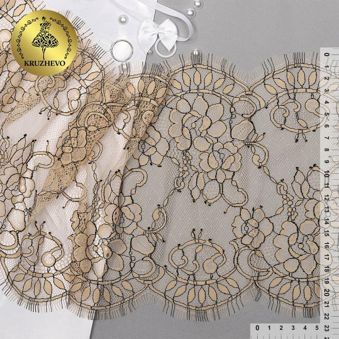 """Кружево """"реснички"""" KRUZHEVO арт.TBY 75221 шир.230мм цв.3 экрю уп.15м (по 3м)"""