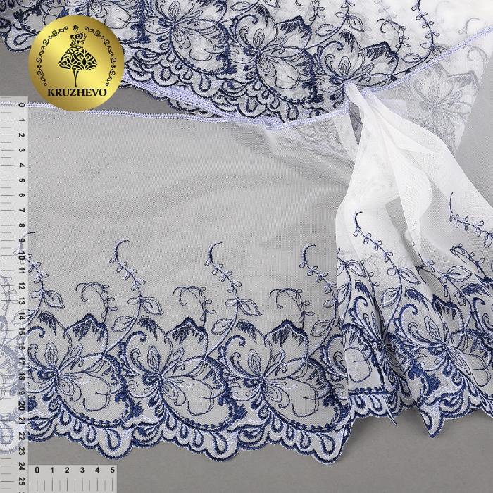 Кружево вышивка на сетке KRUZHEVO арт.TBY.C32 шир.230мм цв.сумрачно белый+синий, левая уп.9,2м