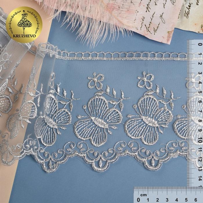 Кружево на жесткой сетке Exclusive арт.TBY 3BS228W1 шир.120мм цв.E1015 серый уп.13,71м