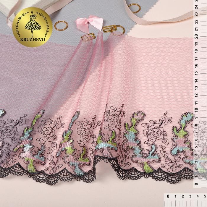 Кружево вышивка на сетке KRUZHEVO арт.TBY.T06 шир.200мм цв.мульти 1, правая уп.13,71м