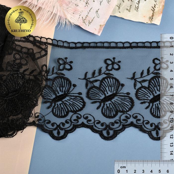 Кружево на жесткой сетке Exclusive арт.TBY 3BS228W1 шир.120мм цв.06 черный уп.13,71м