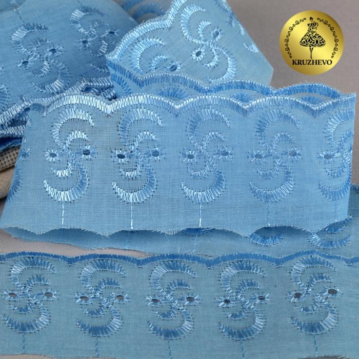 Кружево шитье арт.ТСВ-20S3 (2195) шир.5см цв.182 голубой 100% п/э, уп.13,71м