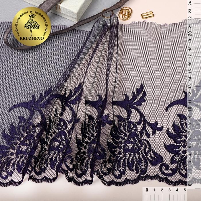 Кружево вышивка на сетке KRUZHEVO арт.TBY.T01 шир.220мм цв.темно-синий, левая уп.14м