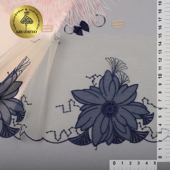 Кружево вышивка на сетке KRUZHEVO арт.TBY.C22 шир.155мм цв.молочный+синий уп.13м