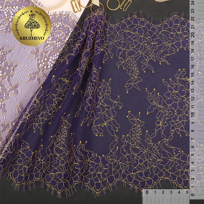 """Кружево """"реснички"""" KRUZHEVO арт.TBY 75224 шир.230мм цв.темно-синий уп.3м"""