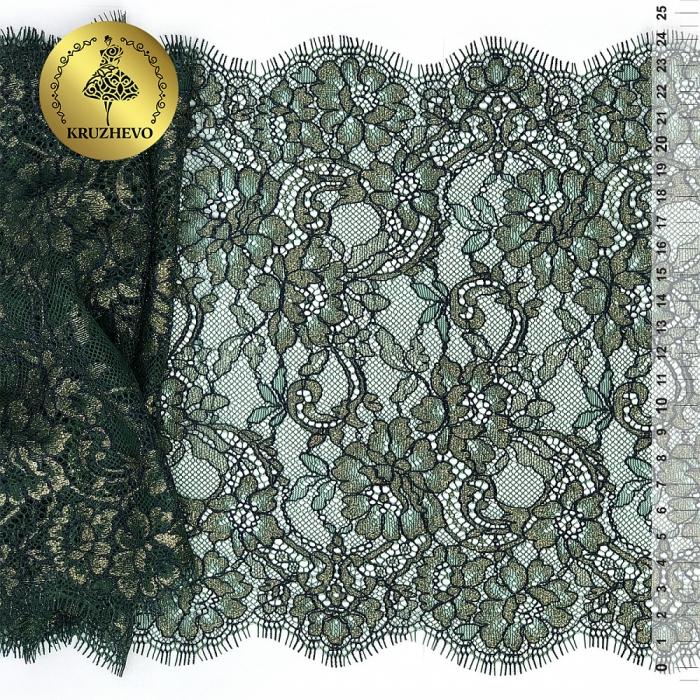 """Кружево """"реснички"""" KRUZHEVO арт.TBY.B4 шир.240мм цв.зеленый с золотом уп.3м"""