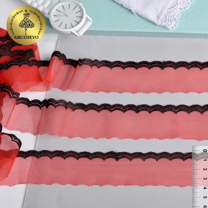Кружево на сетке KRUZHEVO хлопковое арт.TBY A1 шир.33мм цв.02 красный/черный уп.10м