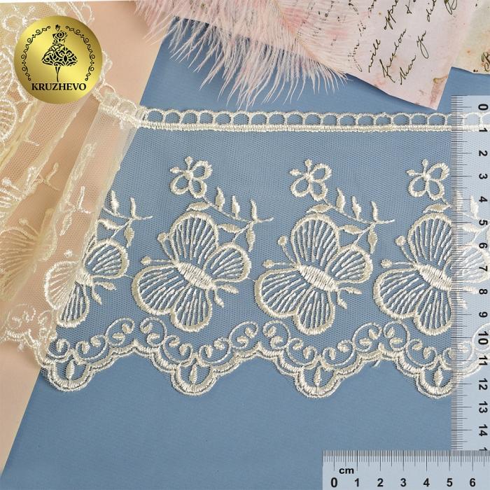 Кружево на жесткой сетке Exclusive арт.TBY 3BS228W1 шир.120мм цв.W1515 молочный уп.13,71м