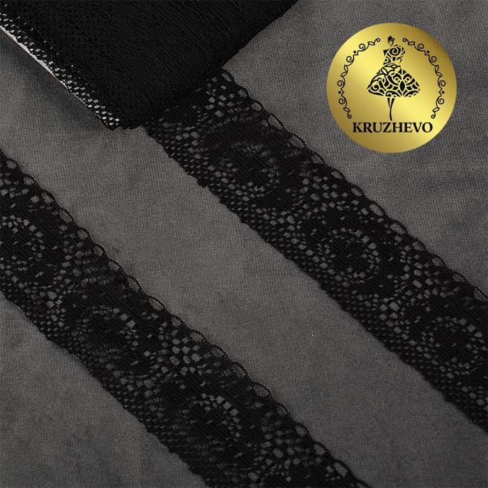 Кружево-трикотаж KRUZHEVO арт.TBY 1660 шир.40мм цв.10 черный, уп.27,4м