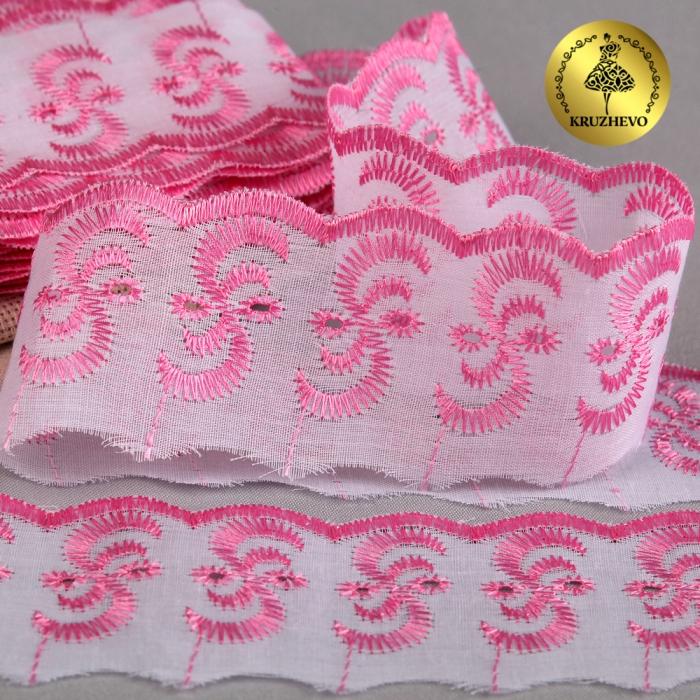 Кружево шитье арт.ТСВ-20S3 (2195) шир.5см цв.133 розовый 100% п/э, уп.13,71м