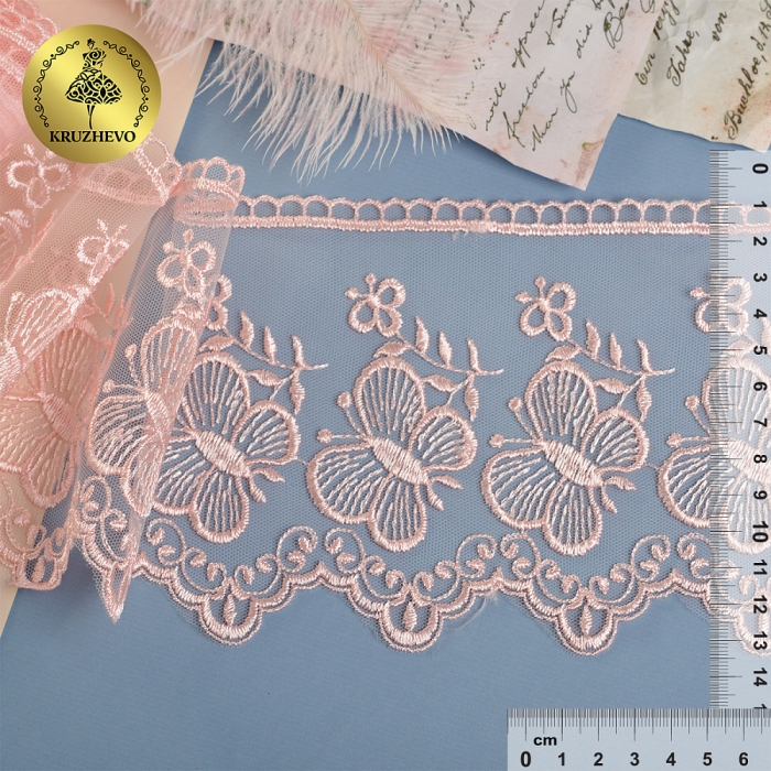 Кружево на жесткой сетке Exclusive арт.TBY 3BS228W1 шир.120мм цв.R1815 розовый уп.13,71м