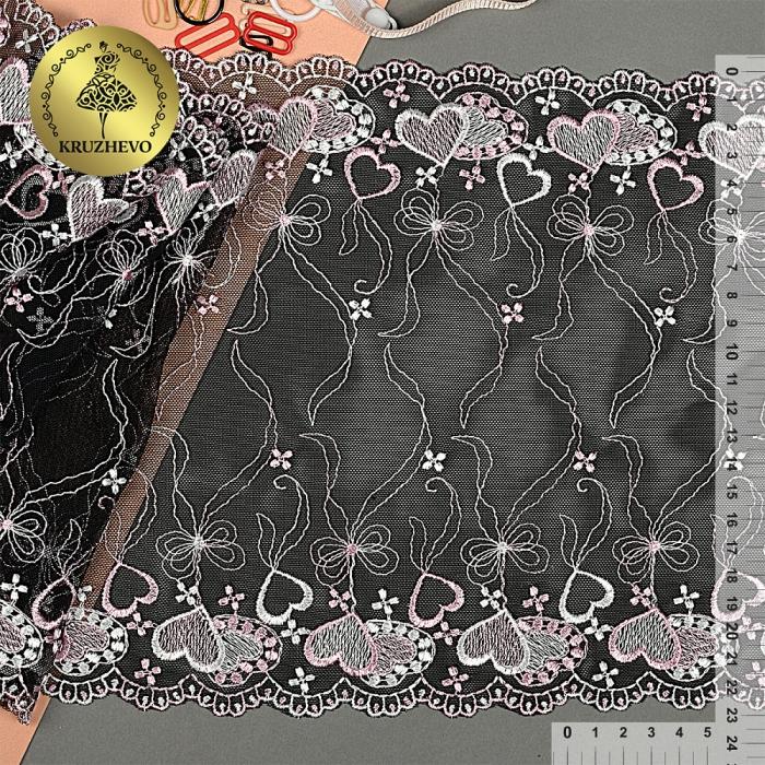 Кружево вышивка на сетке KRUZHEVO арт.TBY.158 шир.230мм цв.черный/розовый уп.13,7м