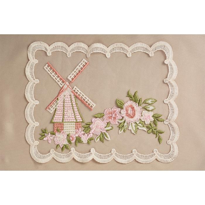 Кружевная вставка на сетке с цветами и мельницей арт.TBY.HTEX.15.2 255х200мм цв.молочный/розовый/зеленый уп.5шт