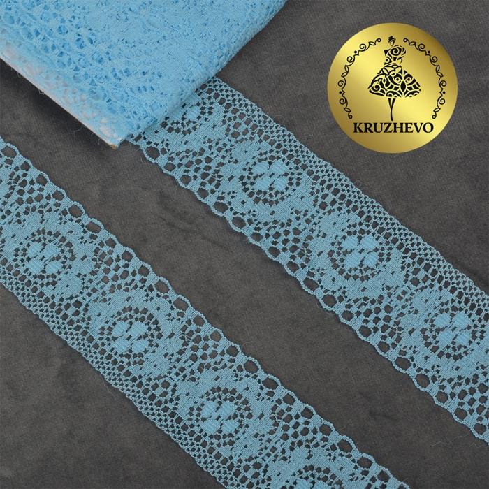 Кружево-трикотаж KRUZHEVO арт.TBY 1660 шир.40мм цв.05 голубой, уп.27,4м