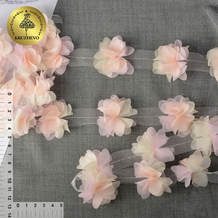 Кружево 3D арт.TBY.1312 Цветы цв.03 белый+св.розовый, уп.9,14м