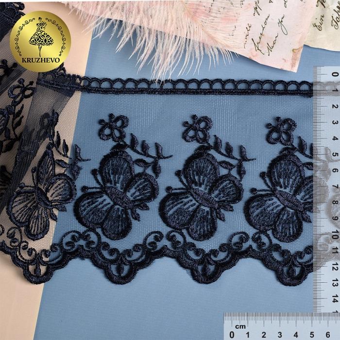 Кружево на жесткой сетке Exclusive арт.TBY 3BS228W1 шир.120мм цв.B4815 т.синий уп.13,71м