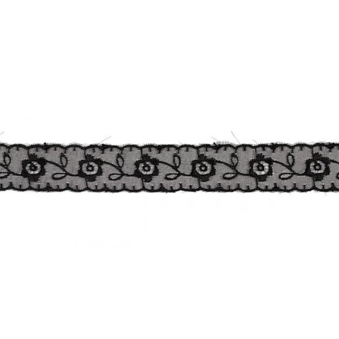 Кружево капрон арт.TBS.0574-3013 цв.черный уп.9,14м