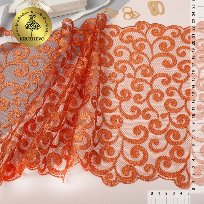 Кружево вышивка на сетке KRUZHEVO арт.TBY.T02 шир.230мм цв.бежевый уп.13,71м