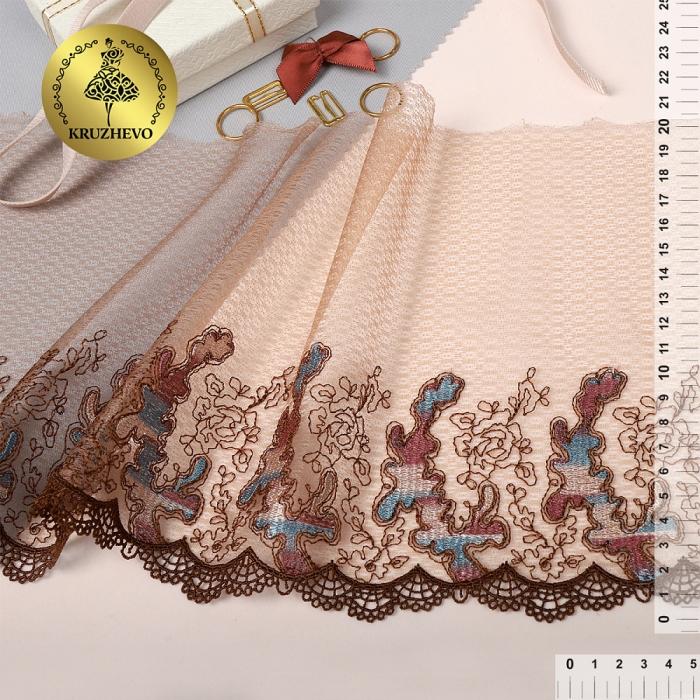Кружево вышивка на сетке KRUZHEVO арт.TBY.T06 шир.200мм цв.мульти 2, левая уп.13,71м