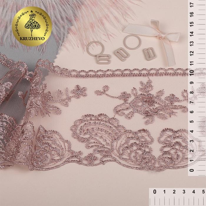 Кружево на сетке арт.TBY.BL.40467 шир.105мм цв.6615 розовая пудра уп.13,71м