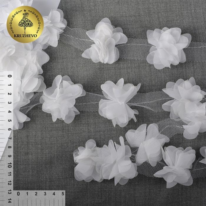 Кружево 3D арт.TBY.1312 Цветы цв.01 белый, уп.9,14м