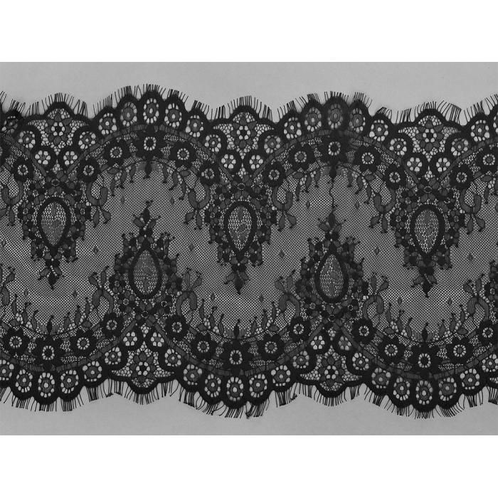 """Кружево """"реснички"""" KRUZHEVO арт.TBY 5042 шир.250мм цв.2 черный уп.15м (по 3м)"""