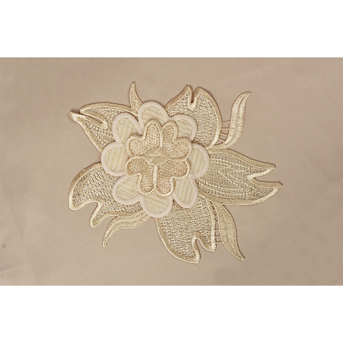 Кружевная вставка с цветами арт.TBY.HTEX.15.4 190х155мм цв.светлое золото уп.5шт