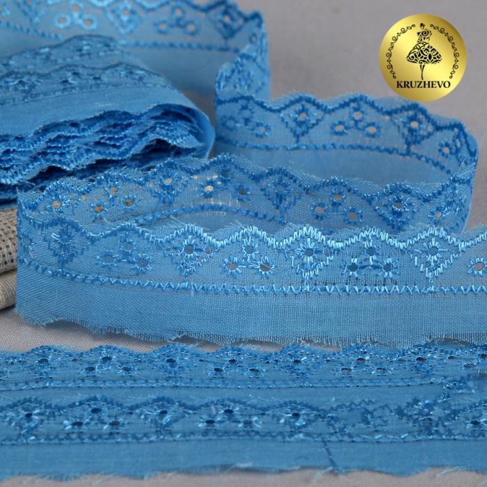 Кружево шитье арт.ТСВ-1006 шир.2см цв.182 голубой 100% п/э, уп.13,71м