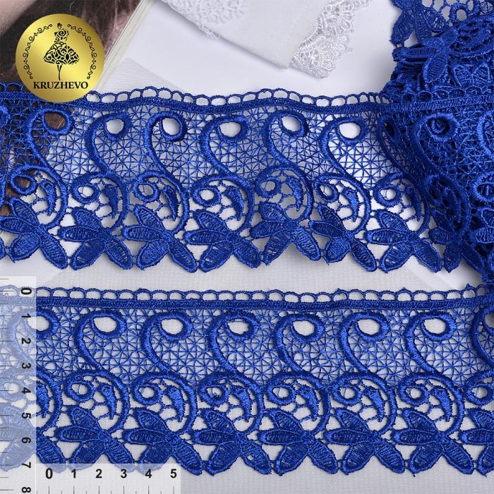 Кружево гипюр KRUZHEVO арт.TR 1416 шир.70мм цв.10 синий уп.9м