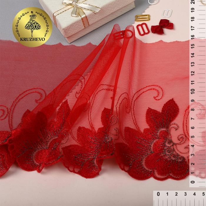 Кружево вышивка на сетке KRUZHEVO арт.TBY.D04 шир.160мм цв.красный, правая уп.17м