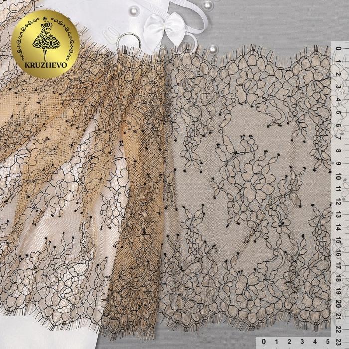 """Кружево """"реснички"""" KRUZHEVO арт.TBY 75223 шир.220мм цв.3 экрю уп.15м (по 3м)"""