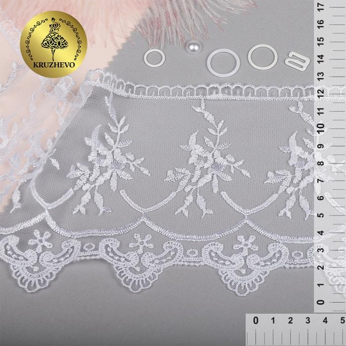 Кружево на жесткой сетке Exclusive арт.TBY 2L476A шир.125мм цв.01 белый уп.13,71м