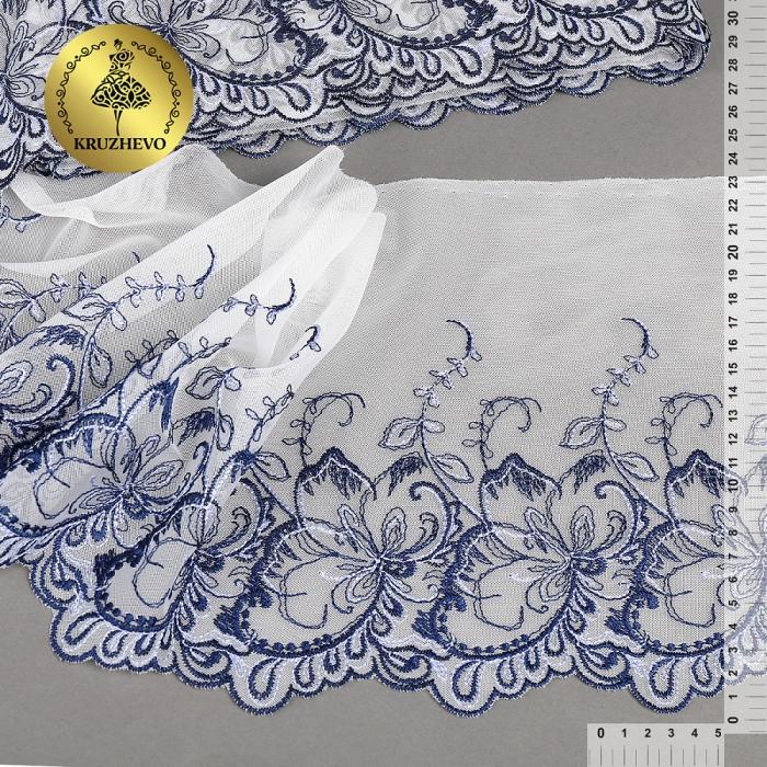 Кружево вышивка на сетке KRUZHEVO арт.TBY.C32 шир.230мм цв.сумрачно белый+синий, правая уп.9,2м