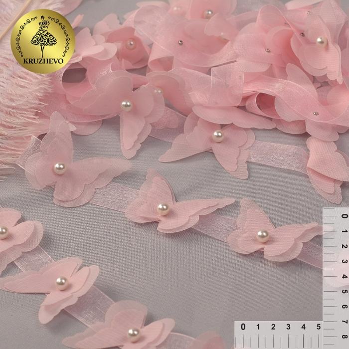 Кружево 3D арт.TBY.1313 Бабочки цв.02 нежно-розовый, уп.9,14м