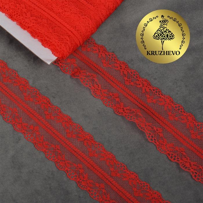 Кружево-трикотаж KRUZHEVO арт.TBY 150-1 шир.40мм цв.03 красный, уп.27,4м