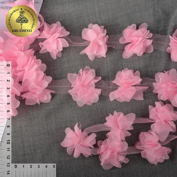 Кружево 3D арт.TBY.1312 Цветы цв.02 нежно-розовый, уп.9,14м