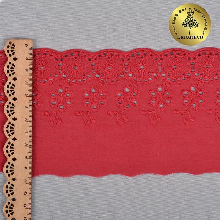 Кружево шитье KRUZHEVO арт.ТСВ-20S12 (2505) шир.10см цв.040 красный, 100% хлопок уп.13,71м
