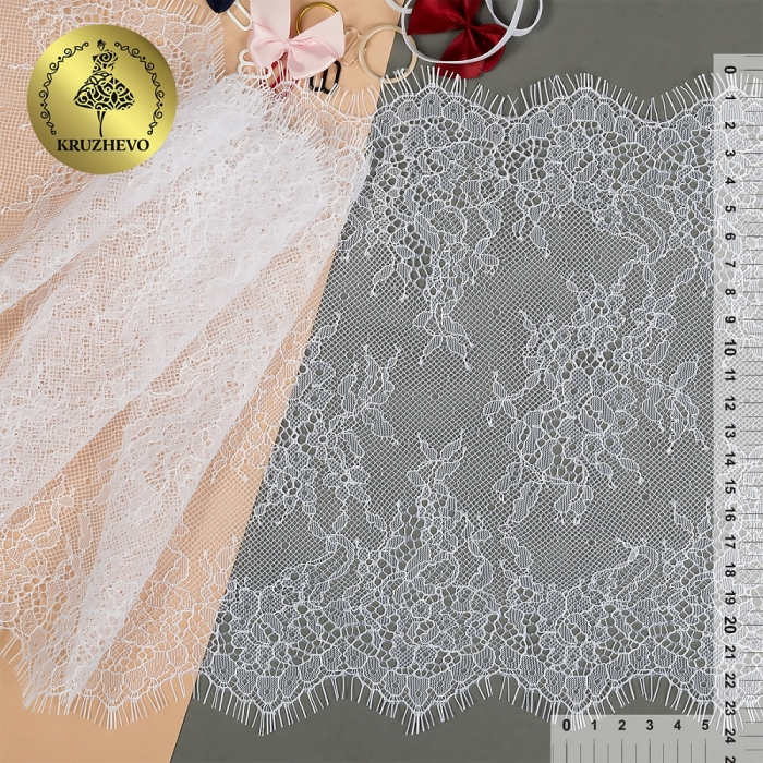 "Кружево ""реснички"" KRUZHEVO арт.TBY 75228 шир.240мм цв.01 белый уп.15м (по 3м)"