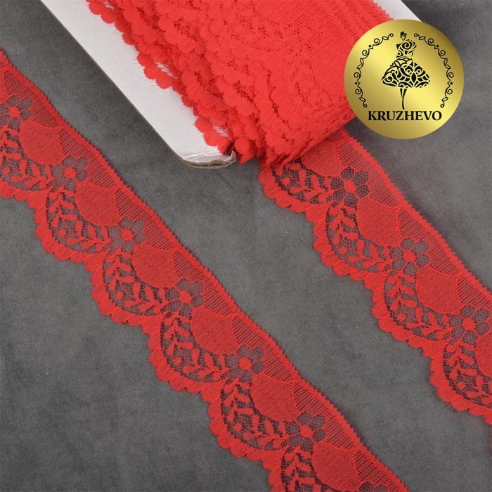 Кружево-трикотаж KRUZHEVO арт.TBY 1661 шир.40мм цв.03 красный, уп.27,4м