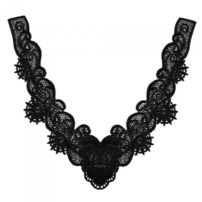 Воротник кружевной арт.TBY.HX-33 23,5х24,3см цв.02 черный, уп.5 шт