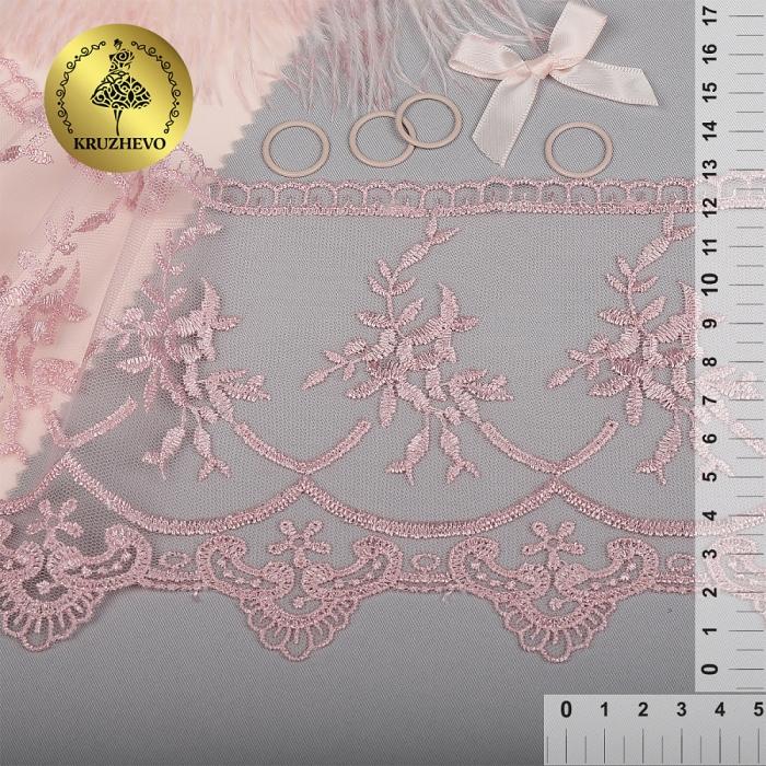 Кружево на жесткой сетке Exclusive арт.TBY 2L476A шир.125мм цв.R1815 розовый уп.13,71м