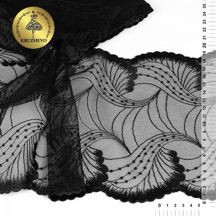 Кружево вышивка на сетке KRUZHEVO арт.TBY.C33 шир.190мм цв.черный уп.14м