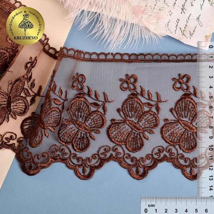 Кружево на жесткой сетке Exclusive арт.TBY 3BS228W1 шир.120мм цв.N3815 шоколадный уп.13,71м