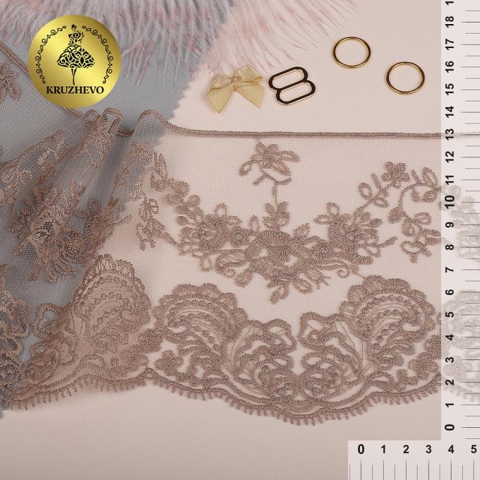 Кружево на жесткой сетке матовая нить арт.TBY.BL.40466 шир.130мм цв.N4815 кофе уп.13,71м