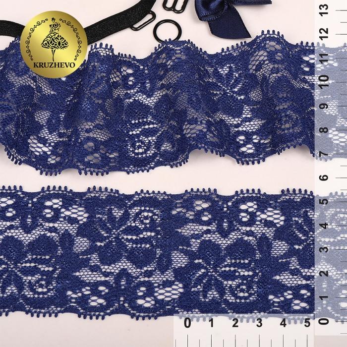 Кружево-стрейч KRUZHEVO арт.AB6S120 шир.55мм цв.03 темно-синий уп.25м