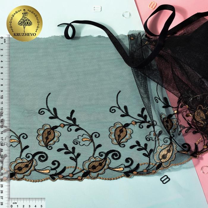 Кружево вышивка на сетке KRUZHEVO арт.LR.2324 шир.240мм цв.черный уп.14м (+/-0,5)