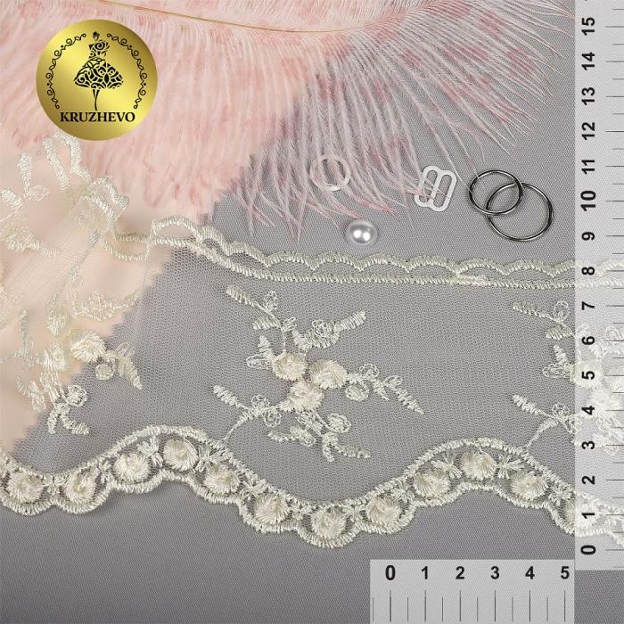 Кружево на жесткой сетке Exclusive арт.TBY 3BS824K шир.85мм цв.W1515 молочный уп.13,71м