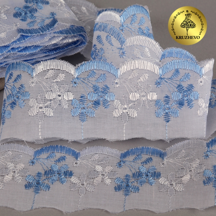 Кружево шитье арт.ТСВ-20S5 (2385) шир.5см цв.101/182 голубой 100% п/э, уп.13,71м