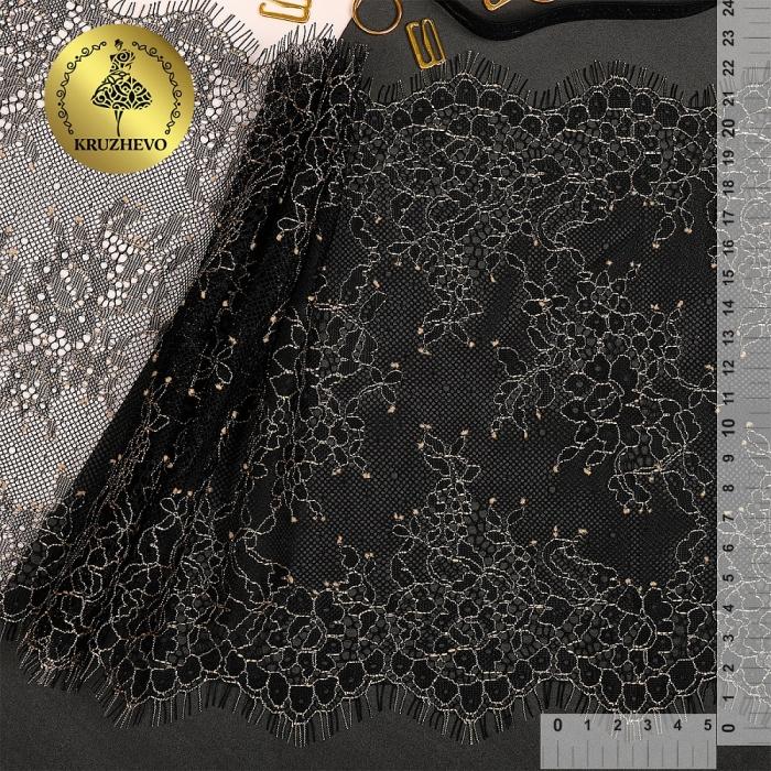 """Кружево """"реснички"""" KRUZHEVO арт.TBY 75225 шир.220мм цв.черный/беж уп.15м (по 3м)"""