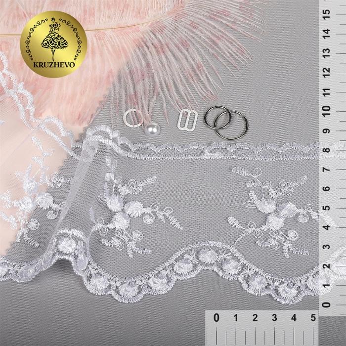 Кружево на жесткой сетке Exclusive арт.TBY 3BS824K шир.85мм цв.01 белый уп.13,71м